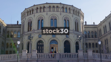 Close Up Shot Of The Norweigan Parliament Buiding In Oslo, Norway