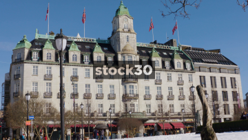 Wide Shot Of The Grand Hotel In Oslo, Norway