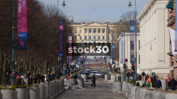The Royal Palace In Oslo, Viewed From Karl Johans Gate, Norway