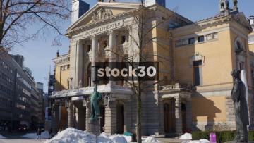 The National Theatre In Oslo, Wide Shot Then Close Up On Sign, Norway