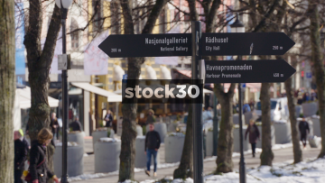Tourist Directions Sign In Oslo, Norway