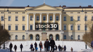 The Royal Palace In Oslo, Slow Zoom Out, Norway