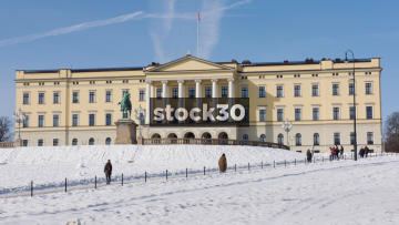 The Royal Palace In Oslo, Wide Shot, Norway