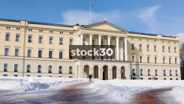 Close Up View Of The Royal Palace In Oslo, Norway