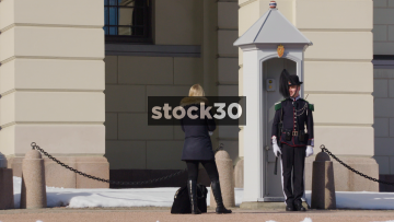 Guard Outside The Royal Palace In Oslo, Norway
