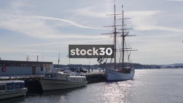 Boats Moored In Oslo, København, Norway