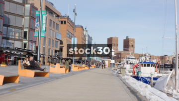 The Docks Area At Aker Brygge In Oslo, Norway