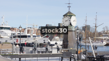 Clock At Aker Brygge In Oslo, Norway