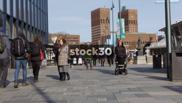 Slow Motion Shot Of Pedestrians At Aker Brygge In Oslo, Norway
