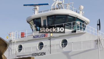 Close Up Detail Of Norled Ferry In Aker Brygge, Oslo, Norway