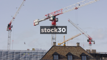 Construction site with cranes at Aker Brygge in Oslo, Norway