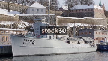 M314 Naval Ship Moored Near Akershus Fortress In Oslo, Norway