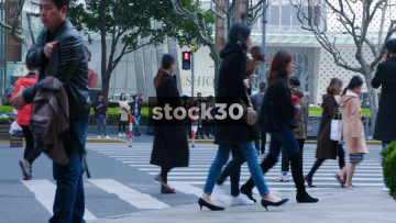 Pedestrians Crossing Lujiazui East Road In Shanghai, China