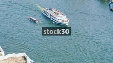 A Cruise Ship On The Chao Phraya River In Bangkok, Thailand