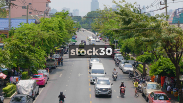 The View Over Thanan Arun Amarin Road In Bangkok, Thailand