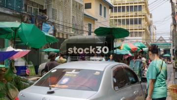 A Local Side Street Market In Bangkok, Thailand