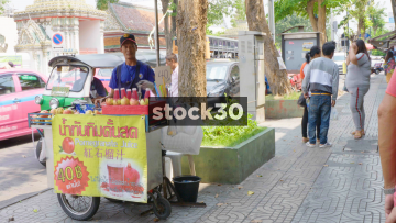 A Pomegranate Juice Stand In Bangkok, Thailand