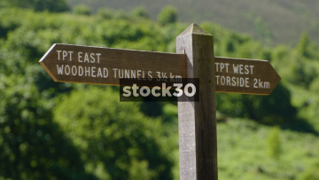 Signage By Woodhead Reservoir In Longendale, North Derbyshire, UK