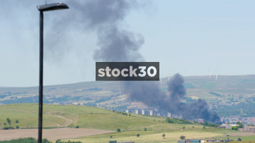 Smoke From Large Fire Burning In The Peak District, UK