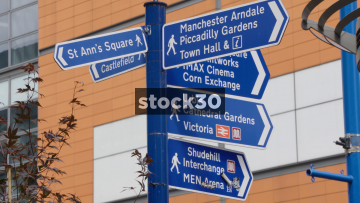 Manchester Pedestrian Directions Signs, UK
