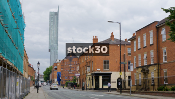Liverpool Road In Manchester With Beetham Tower And Castlefield Hotel, UK