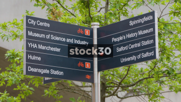 Pedestrian And Cycling Directions Sign In Manchester, UK