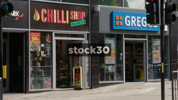 Chilli Shop And Greggs Bakery On Merrion Street In Leeds, UK