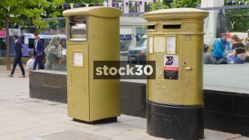 Gold Post Box In Leeds, UK
