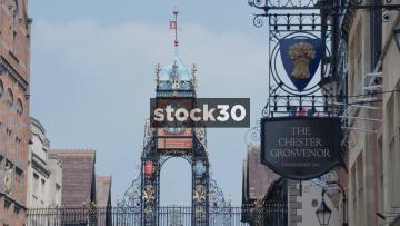 Chester Eastgate Clock And Grosvenor Hotel Sign, UK