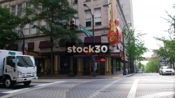 Hard Rock Cafe Restaurant On The Corner Of Peachtree Street And Andrew Young International Boulevard In Atlanta, USA