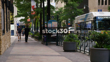A View Down Peachtree Street Sidewalk/Pavement In Downtown Atlanta, USA