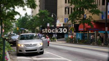 Traffic On Peachtree Street In Downtown Atlanta, USA