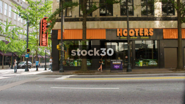 Hooters Restaurant On Peachtree Street In Downtown Atlanta, USA