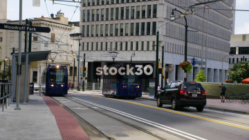 An Atlanta Streetcar Arriving At The Woodruff Park Stop In Atlanta, USA