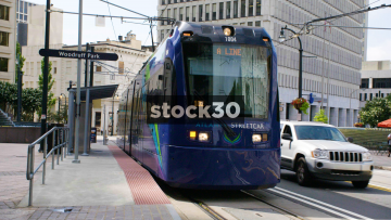 An Atlanta Streetcar Leaving The Woodruff Park Stop In Atlanta, USA
