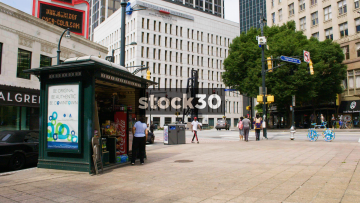A Drinks And Snacks Kiosk In Downtown Atlanta, USA
