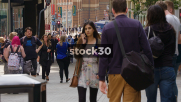 Slow Motion Shot Of Shoppers On The Headrow In Leeds, UK