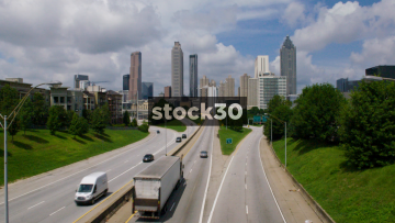 Atlanta, Georgia - Wide City View From Highway, USA