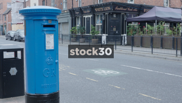 Rare Blue British Former Airmail Postbox, UK