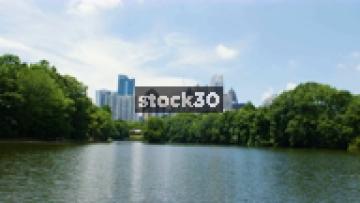 Lake Clara Meer And Distant Buildings In Atlanta, USA