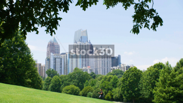 Tall Buildings Viewed From The Meadow At Piedmont Park In Atlanta, USA