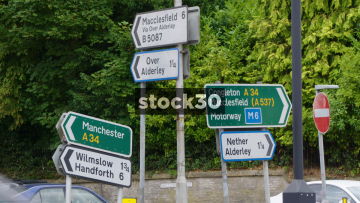 Road Signs In Alderley Edge, Cheshire, UK