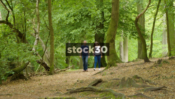 Man And Woman Walking Through Alderley Edge Woodland, UK