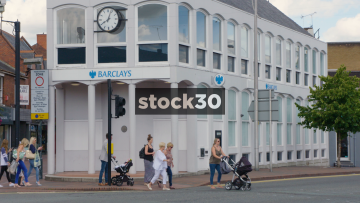 Slow Motion Shot Of Barclays Bank In Wilmslow, UK