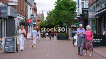 Slow Motion Shot Of Shoppers In Wilmslow, UK