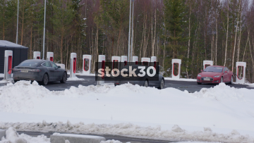 Tesla Super Charger Electric Car Charging Stations In Oslo, Norway
