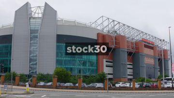 Old Trafford Football Stadium And Sir Alex Ferguson Stand In Manchester, UK