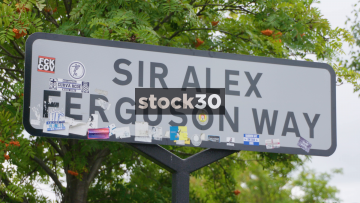 Sir Alex Ferguson Way Road Signs In Old Trafford, Manchester, UK