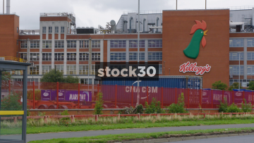 Wide Shot Of Kellogg's Factory In Trafford Park, UK