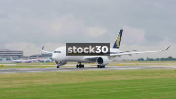 Singapore Airlines Airbus A350-941 Taking Off At Manchester Airport, UK